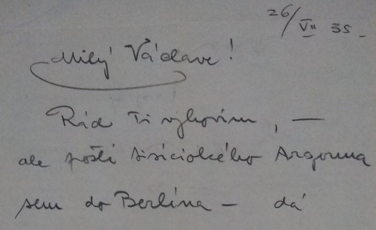 Dopisy Karla Lamače Václavu Wassermanovi